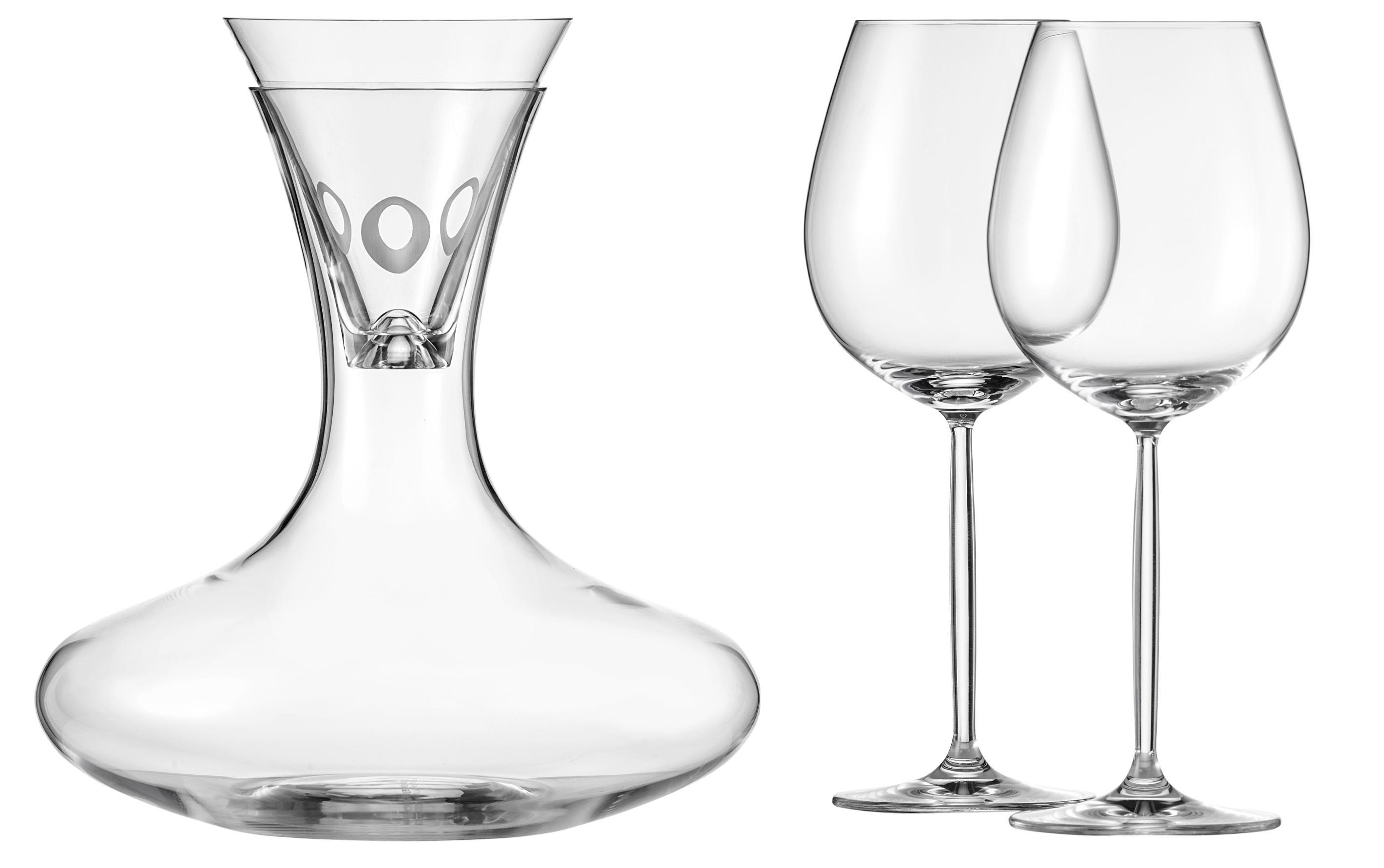 Decanter 1 L + trechter + 2 glazen - Diva