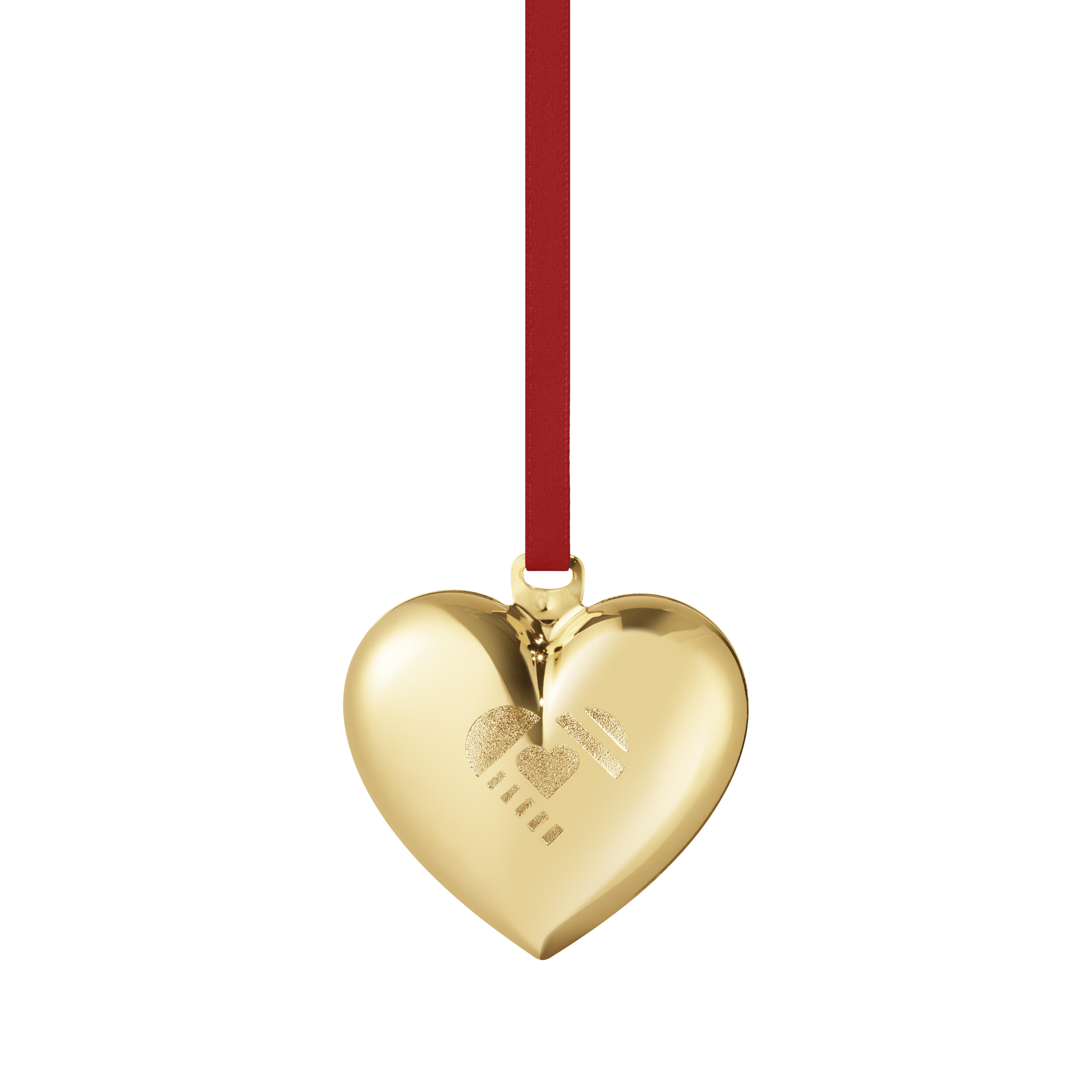 Christmas heart gold